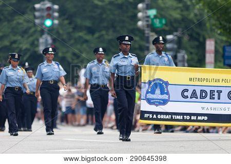 Washington, D.c., Usa - July 4, 2018, Members Of The Metropolitan Police Department Cadet Corps Marc