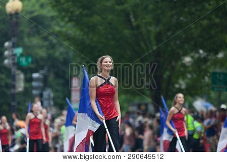 Washington, D.c., Usa - July 4, 2018, The National Independence Day Parade, The Cabot High School Ma