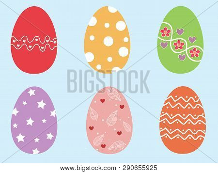 Beautiful 6 Pieces Colorful Easter Eggs. Cute Easter Eggs On Pastel Blue Isolated Background. Vector