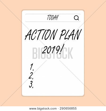 Handwriting Text Writing Action Plan 2019. Concept Meaning Proposed Strategy Or Course Of Actions Fo
