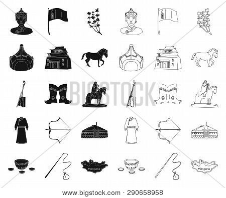 Country Mongolia Black, Outline Icons In Set Collection For Design.territory And Landmark Vector Sym