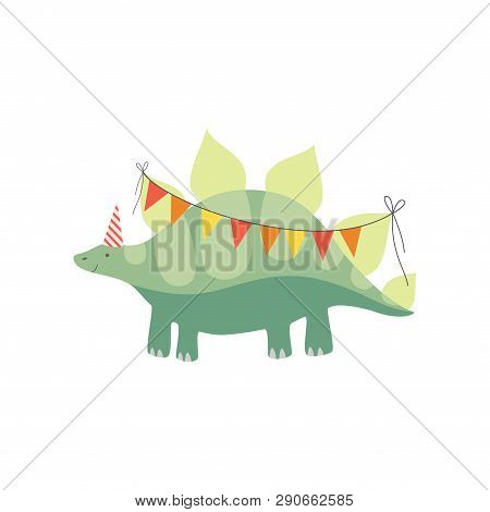 Cute Stegosaurus Dinosaur In Party Hat With Party Flags, Funny Colorful Dino Character, Happy Birthd