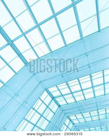 Background of blue roofing texture in office center poster