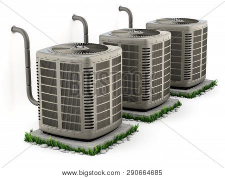 Heating And Air Conditioner Units On The Stand - 3d Illustration