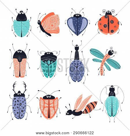 Discovery Set Of Cute Cartoon Bugs Or Beetles, Butterflies. Isolated Elements, Clipart On A White Ba