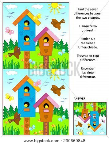 Spring, Easter Or Summer Visual Puzzle With Birdhouses, Birds And Nestlings: Find The Seven Differen