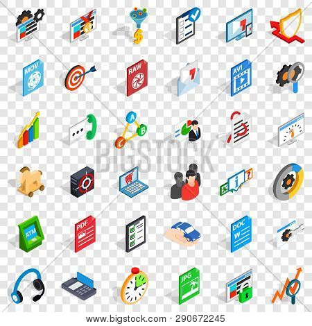 Protect Information Icons Set. Isometric Style Of 36 Protect Information Vector Icons For Web For An