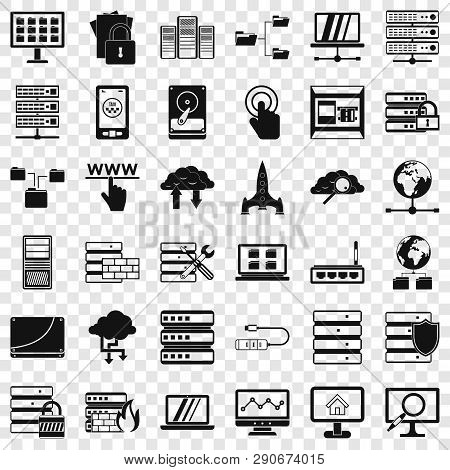 Data File Icons Set. Simple Style Of 36 Data File Vector Icons For Web For Any Design