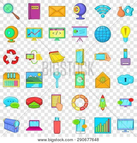 Computer Site Icons Set. Cartoon Style Of 36 Computer Site Vector Icons For Web For Any Design