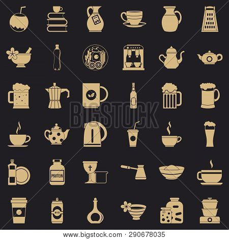 Crockery icons set. Simple style of 36 crockery vector icons for web for any design poster