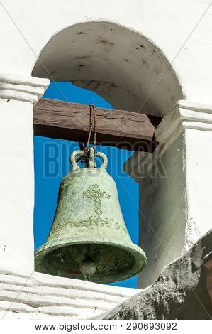 Close Up Of Bronze Bell On Spanish Mission Basilica San Diego De Alcala Belltower, California, Usa