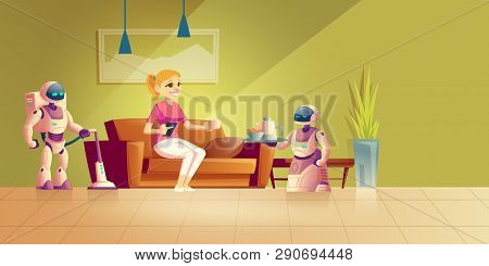 Cleaning And Cooking Robot Cartoon Vector Concept. Happy Woman Resting In Comfort On Sofa, Drinking