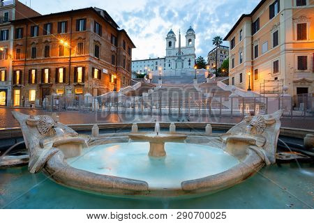 Spanish Steps And Fontana Della Barcaccia In Rome At Early Morning, Italy