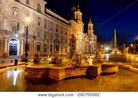 Fontana Del Moro On Piazza Navona In Rome, Italy