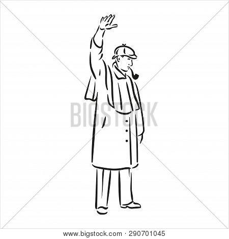 Vector Illustration Of Sherlock Holmes Black Color On White Background