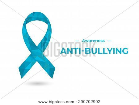 Blue low lpoly awareness ribbon vector for web poster