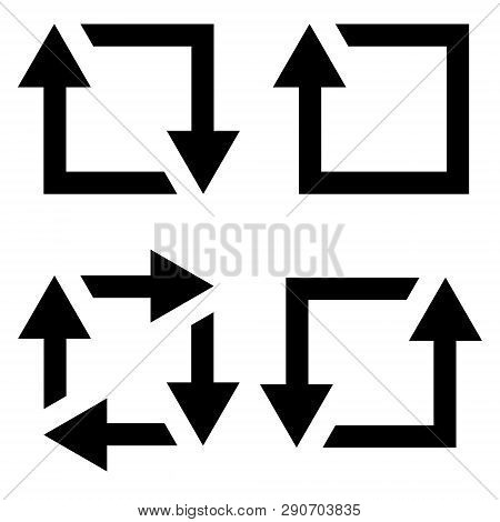 Set Icon Repost Recycling, Vector Contours Of A Square With An Arrow Sign Symbol Repost Resend, Recy