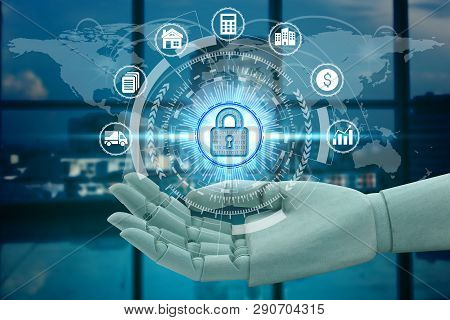 Robot Hand Holding Network Using Padlock Over The Network Connection Technology, Investment Financia