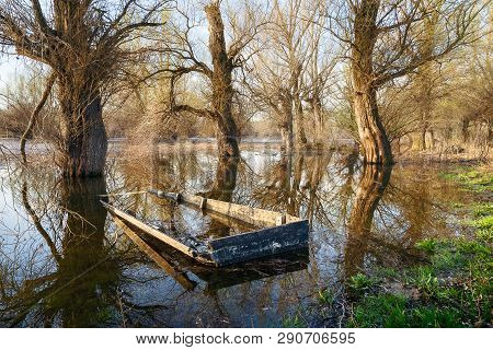 Submerged Boat River Nature Landscape.nature Landscape. Clouds And River Landscape. Outdoor Travelin