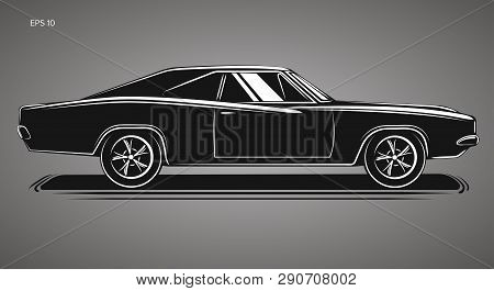 Classic American Muscle Car Vector Illustration Icon