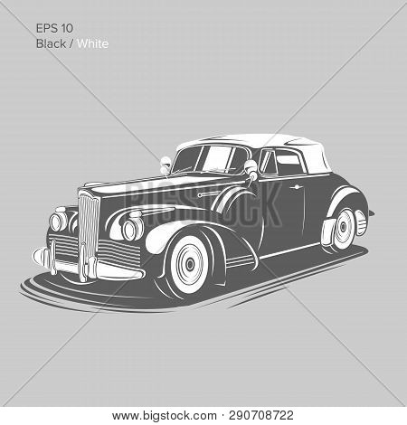 Old Vintage Retro Pre-war Roadster Vector Illustration. Exclusive And Luxury Car