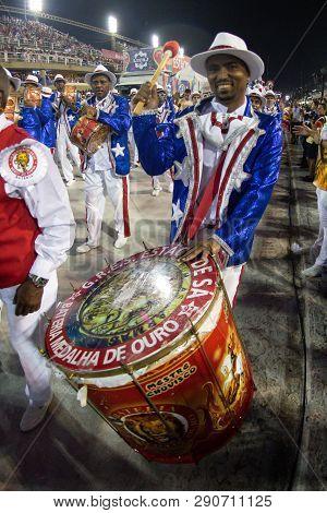 Rio, Brazil - March 02, 2019: Estacio De Sa During The Carnival Samba School Carnival Rj. Percussion