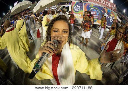 Rio, Brazil - March 02, 2019: Estacio De Sa During The Carnival Samba School Carnival Rj. Singer