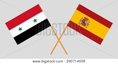 Spain And Syria. The Spanish And Syrian Flags. Official Proportion. Correct Colors. Vector Illustrat