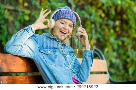 Audio Book. Style And Music. Hipster Woman In Headphones. Relax In Park With Headphones. Hipster Gir