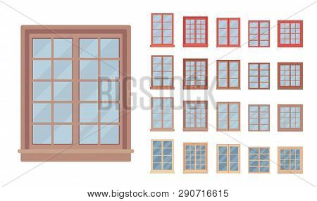 Window For Building Fitted With Glass In A Frame. Georgian Sash Classic Set With Panes. Home, Office
