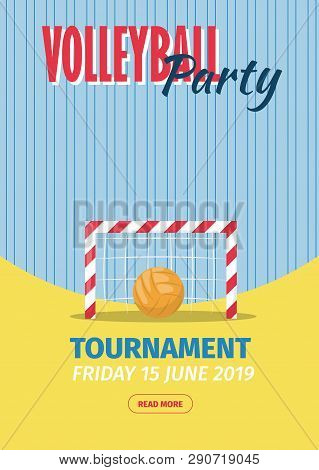 Beach Volleyball Sport Poster Vector Illustration. Summer Playing Beach Volley Team Competition Invi