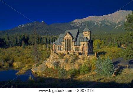 Fairy Tale Style Church And Mountains
