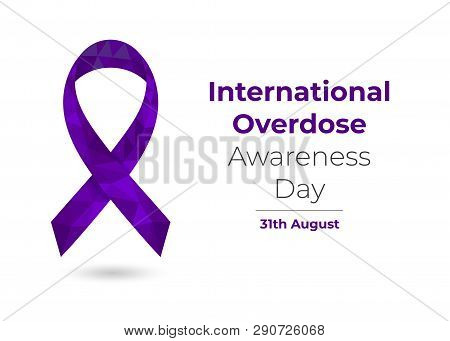 Overdose Awareness Day Purple Low Poly Ribbon