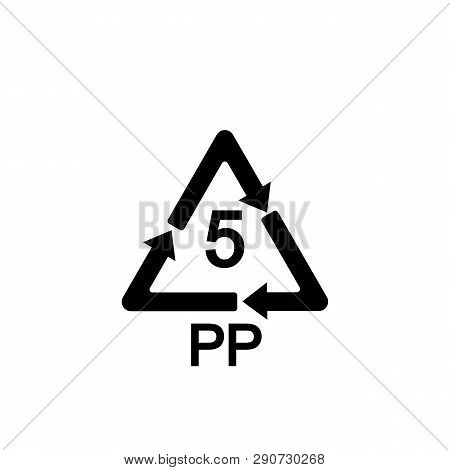 5 Pp Icon. Pp 5 Icon. Polypropylene Thermoplastic Polymer Sign. Recycling Symbol. Circle And Square