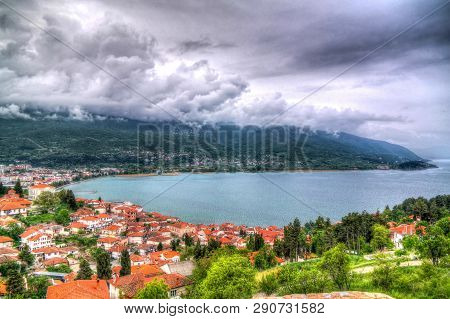 Panoramic Aerial View To Ohrid Lake And City From Samuels Fortress, Ohrid, , North Macedonia