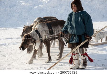 New Urengoy, Yanao, North Of Russia. March 1, 2019. The Holiday Of North Nationality. Nenets Man And