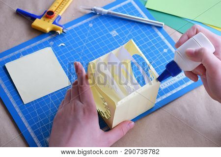 Making Tunnelbook. 3D Greeting Card Spring . Artwork Equipment And Tools For Paper Cut - Cutting Kni