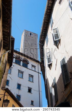 Scenic View Of Characteristic Houses And Tower Of The Dell'olio Tower