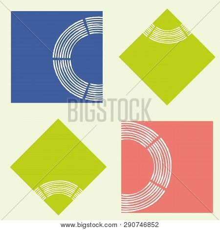 Modern Abstract Lime, Coral And Blue Squares With Brush Semi Circle Texture. Seamless Geometric Vect