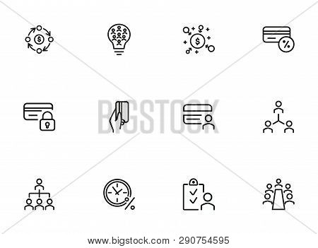 Finance Consulting Line Icon Set. People, Flowchart, Credit Card. Business Concept. Can Be Used For