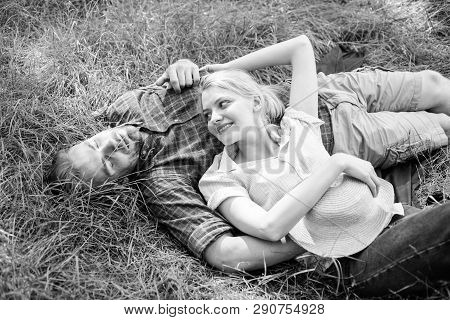 Couple In Love Relaxing Outdoors. Guy And Girl Dreamy Relaxed Enjoy Tranquility Nature. Nature Fills