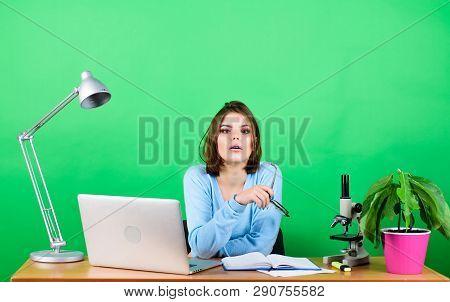 Modern Student Girl. Education Concept. Student Life. High School Education. Start Career Of Teacher