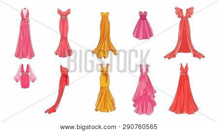 A Set Of Different Dresses. Modern And Classic Style. Dresses For Prom, Gala Evening, Wedding, Masqu
