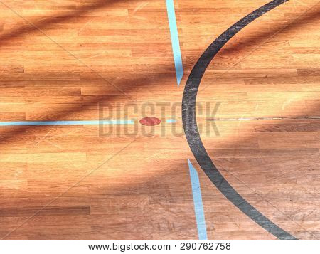 Playfield lines painted on renewal gymnasium wooden floor. Inside athletic playground poster