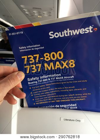 Oakland, California / USA March 19, 2019 Boeing 737-800 737 MAX8 airplane jet safety information card Southwest Airline flight