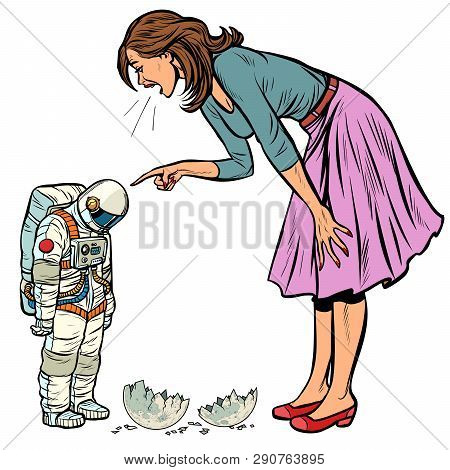 Woman Scolds Astronaut. The Guilty Destroyed Moon. Isolate On White Background Pop Art Retro Vector