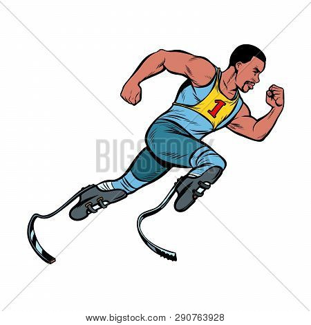 Disabled African Runner With Leg Prostheses Running Forward. Sports Competition. Pop Art Retro Vecto