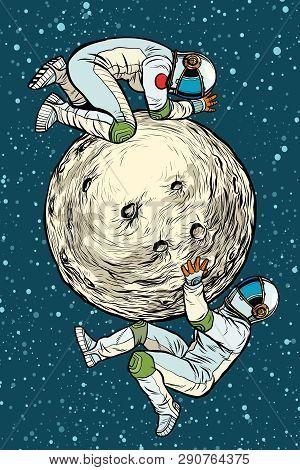 Astronauts On The Moon, Space Exploration. Pop Art Retro Vector Illustration Kitsch Vintage