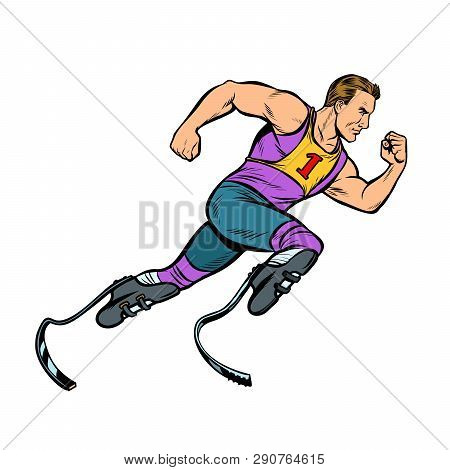 Disabled Runner With Leg Prostheses Running Forward. Sports Competition. Pop Art Retro Vector Illust