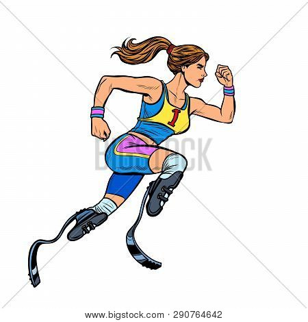 Disabled Runner Woman With Leg Prostheses Running Forward. Sports Competition. Pop Art Retro Vector